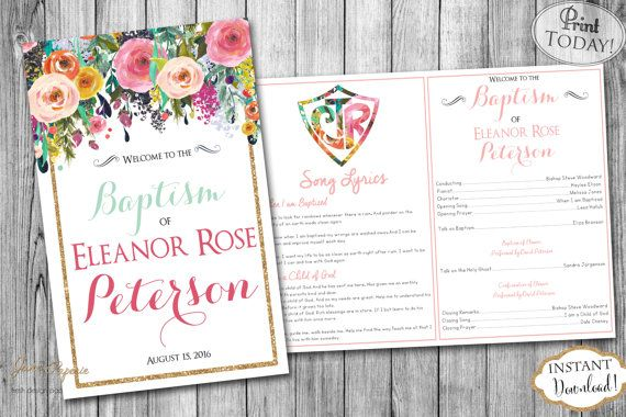 INSTANT DOWNLOAD LDS Baptism Program Fully by JanePaperie | Teagan ...