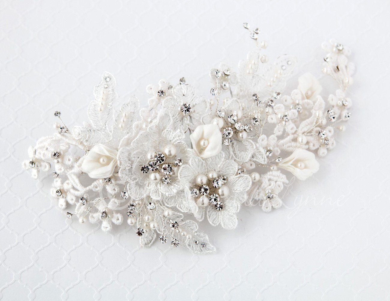 242f7b376 Lace and Calla Lily Bridal Hair Clip   Calla lilies, Bridal hair and ...
