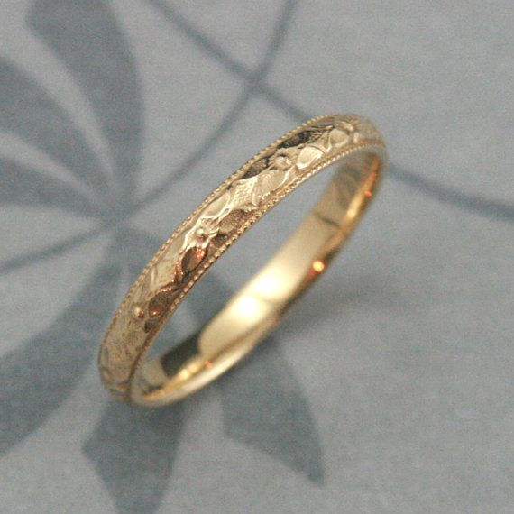 Orange Blossom Ring--14K Gold Renaissance Band--Women s Wedding Ring--Antique  Style Band--Vintage Style Ring--Milgrain Edge--Patterned Ring bbbe2eaa3