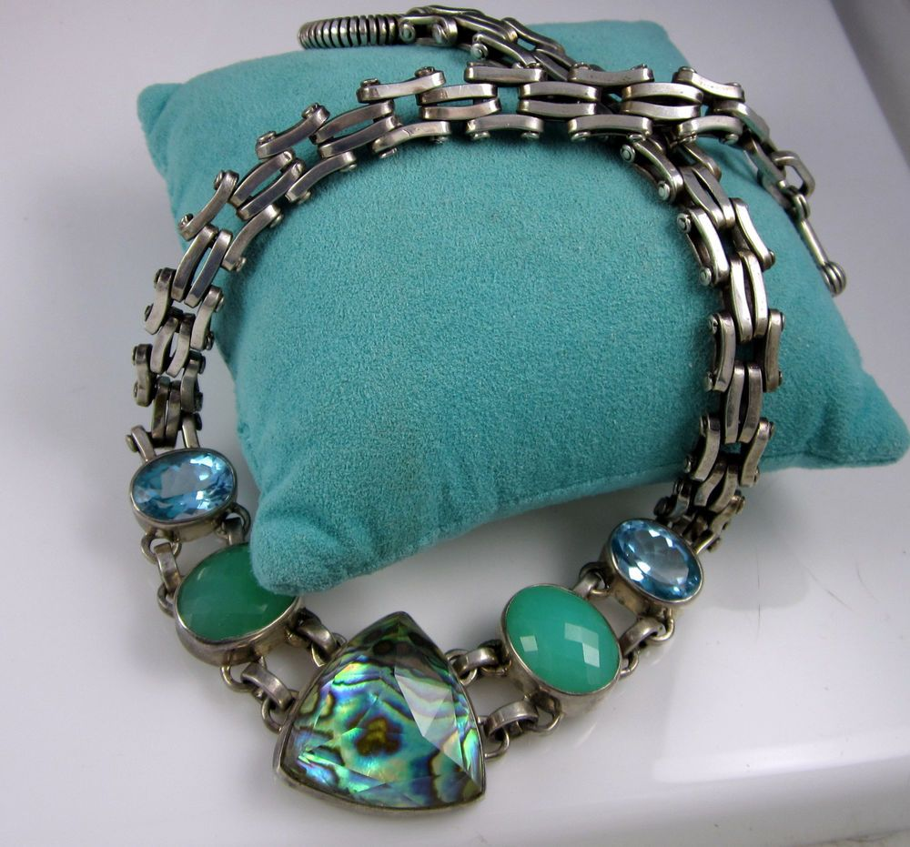 Estate Stephen Dweck Sterling Silver Topaz Abalone Chrysoprase 141.2 Gr Necklace #StephenDweck