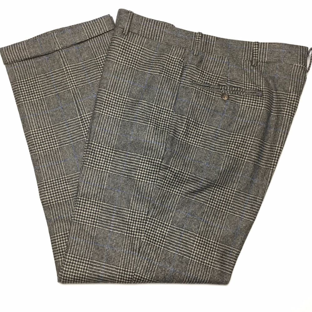 Men's grey flannel trousers  RALPH LAUREN Italy Mens  Gray Blue Plaid Flat Front Wool