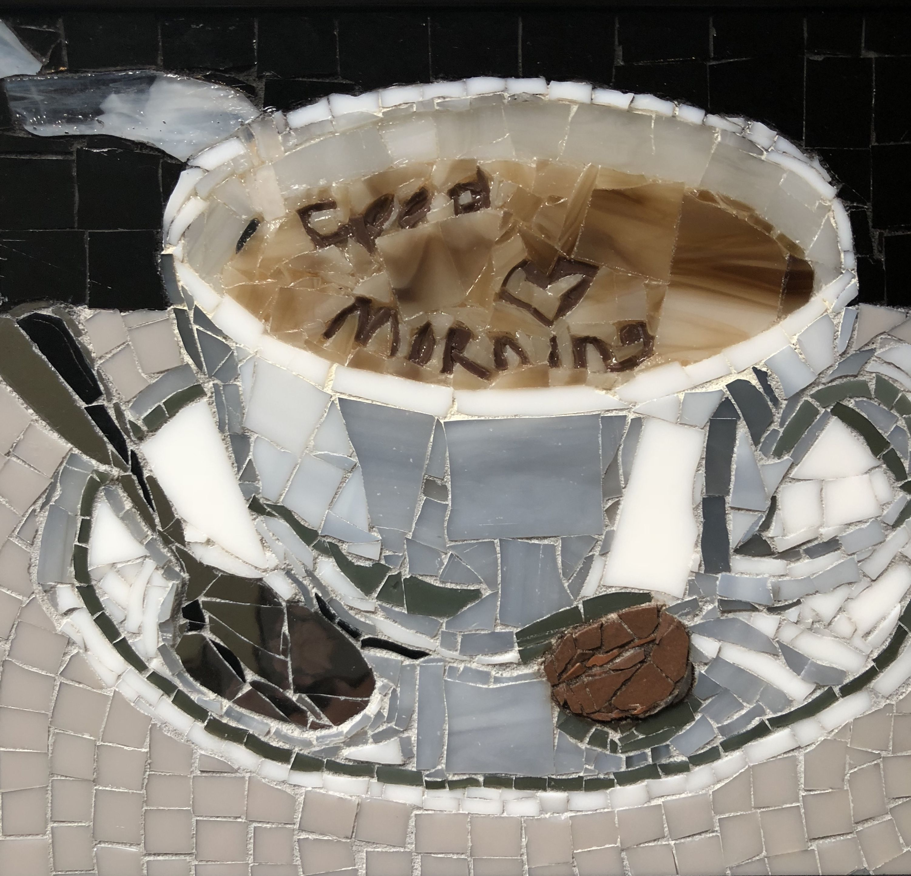 Good morning coffee cup mosaic Coffee staining, Mosaic