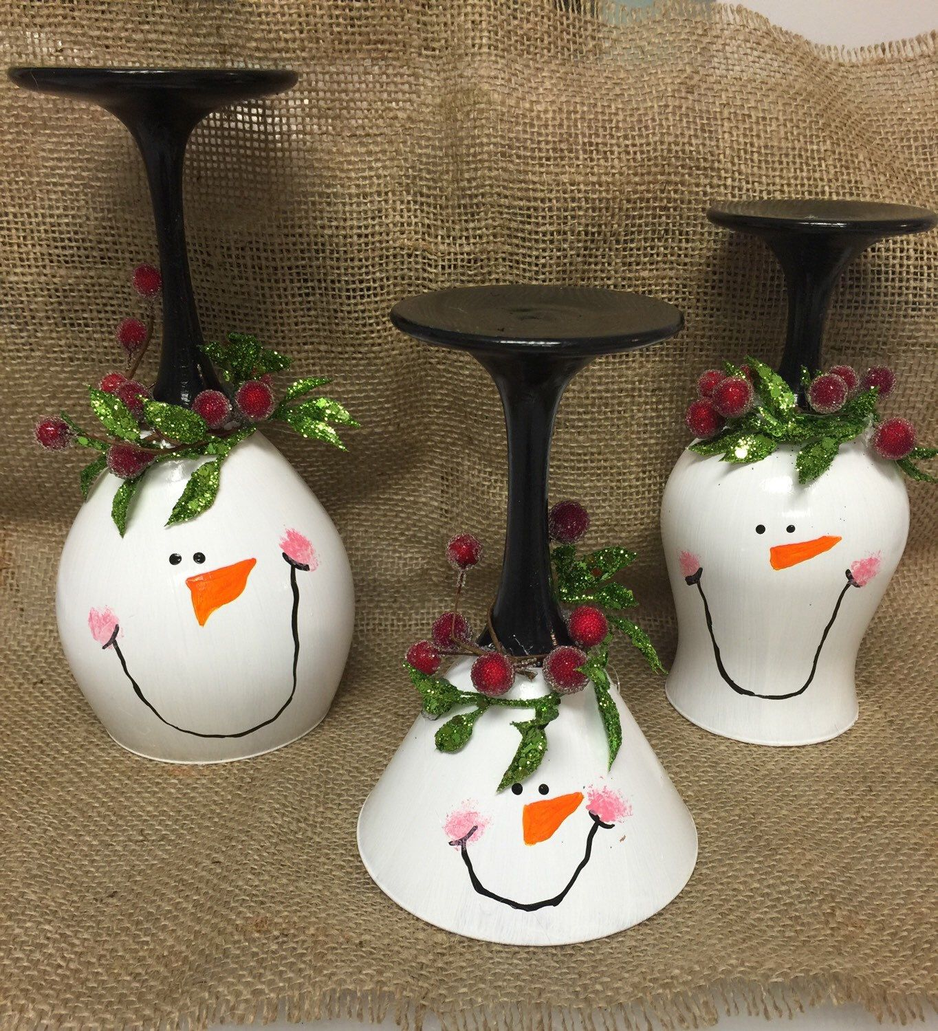 Christmas Decorations With Wine Glasses: Snowman Wine Glass Candle Holder Christmas Wine Glass