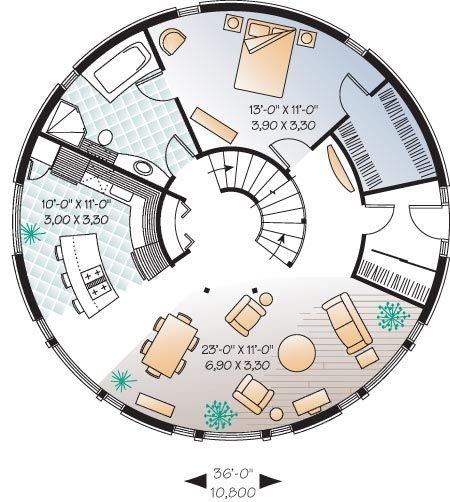 Round house google search like some of the layout in for Round home plans