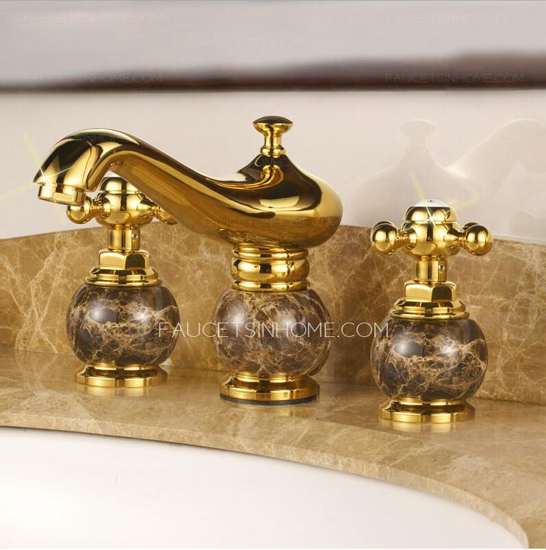 Antique Gold Marble Handle Three Hole Bathroom Sink Faucet With