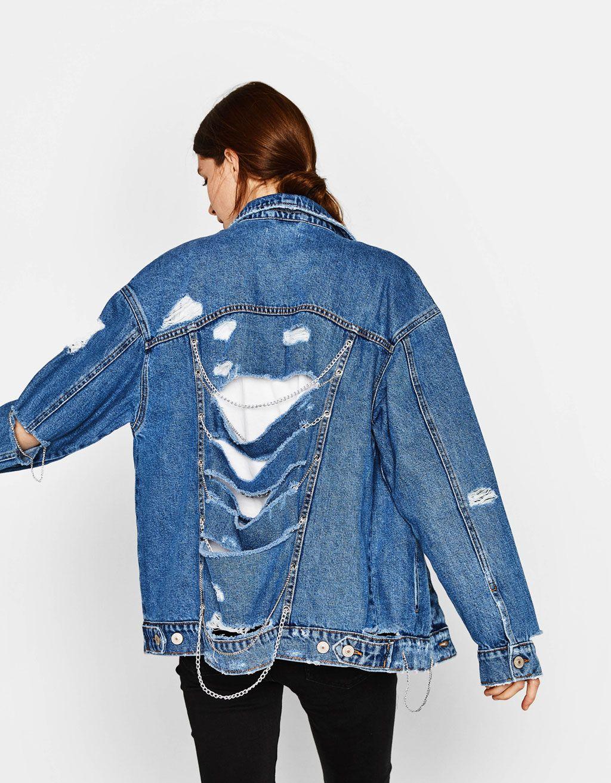 Bershka Hong Kong Oversized Denim Jacket With Chains Denim Fashion Denim Jacket With Dress Denim Women [ 1313 x 1024 Pixel ]