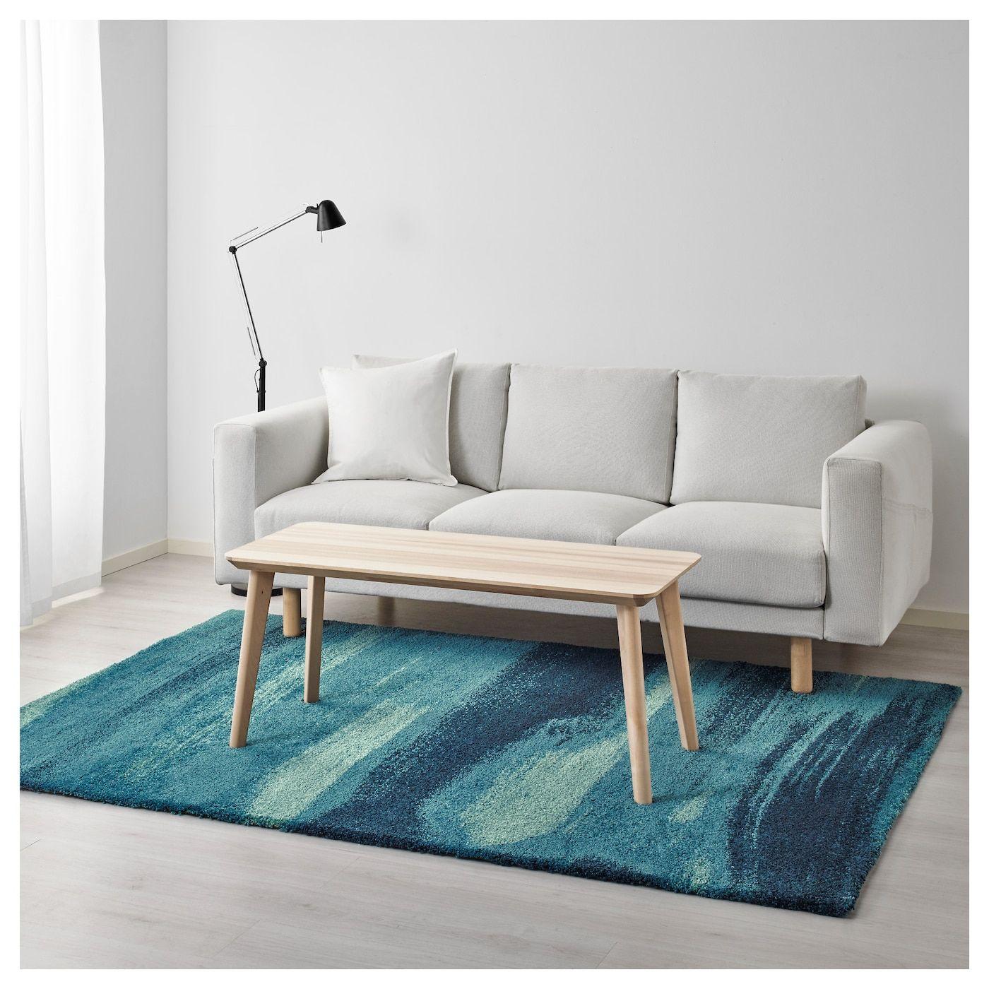 IKEA SONDEROD Blue Rug, high pile Living room carpet