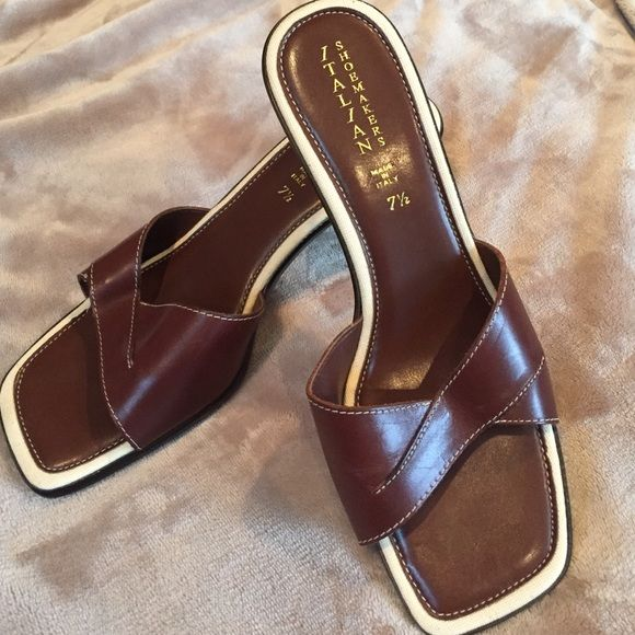 New Italian Shoemakers Brown Slides New excellent condition make an offer everything in my closet is negotiable  Italian shoemakers  Shoes