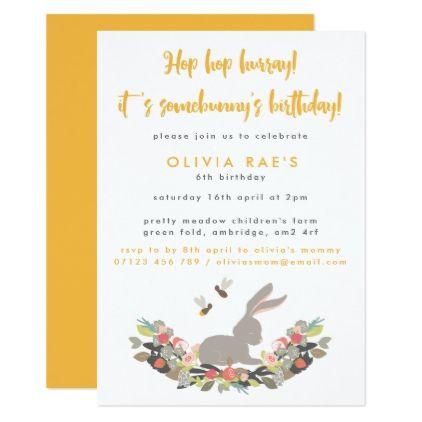 Floral Spring Bunny Birthday Party Invitation Floral invitation