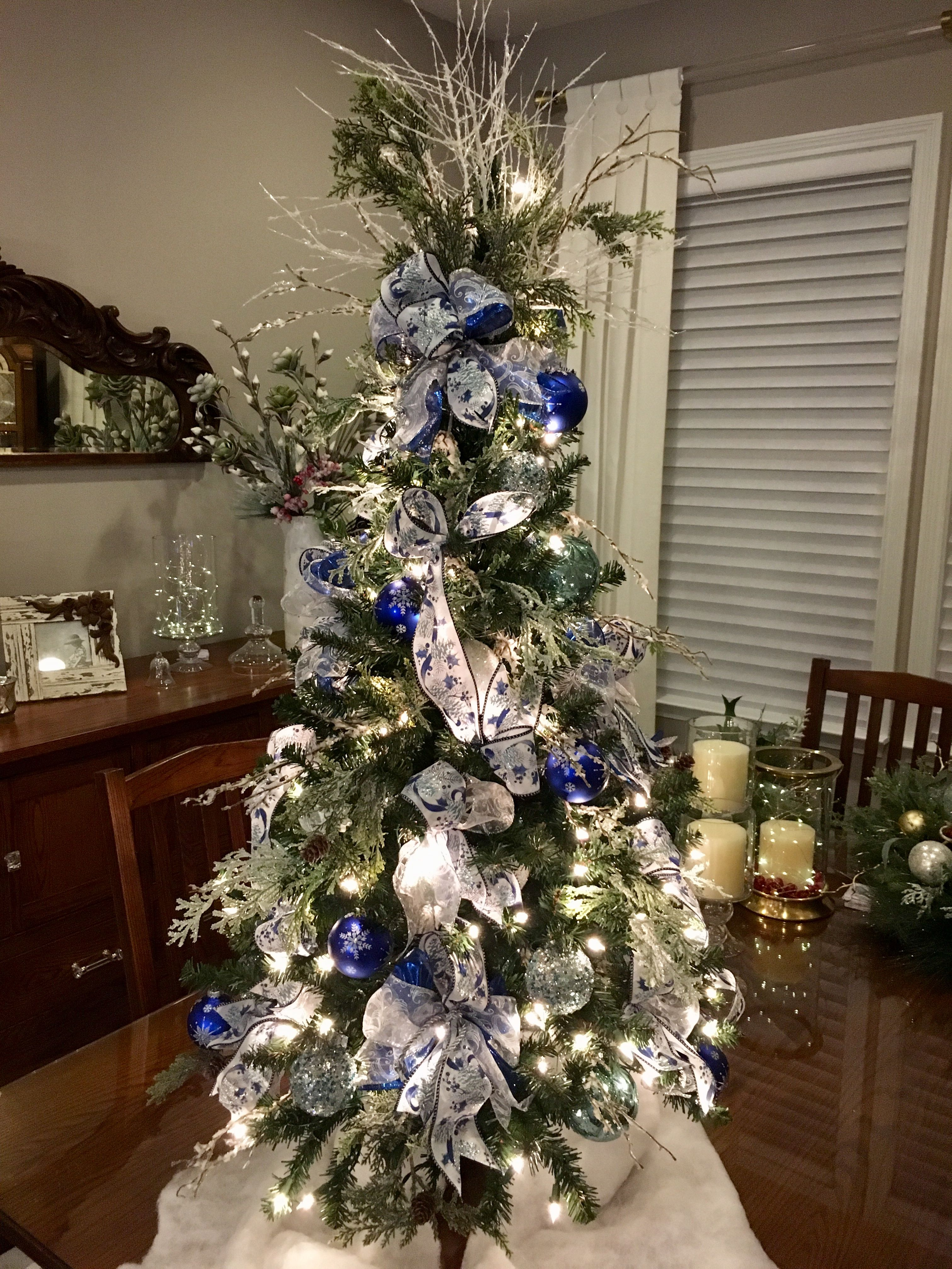 Blue Christmas 4 White Lit Tree 2 5 Wired Navy Royal Blue Silver Ribbon Blue Christmas Tree Blue Christmas Tree Decorations Christmas Tree Colour Scheme