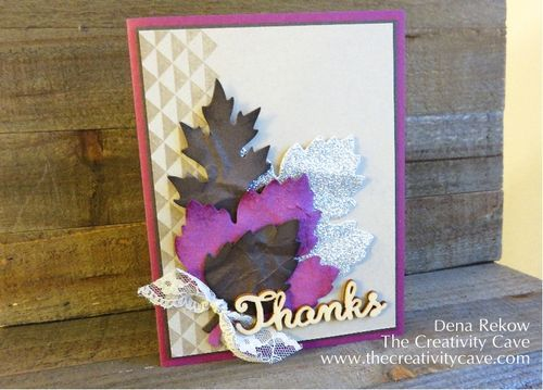 The Creativity Cave: Friday Quickie Techniques and Tips Video Series: Faux Suede #stampinup Dena Rekow, The Creativity Cave, Greeting Cards, Rubberstamping, Acorny Thank You, Leaflets Framelits, Watercolor Wishes