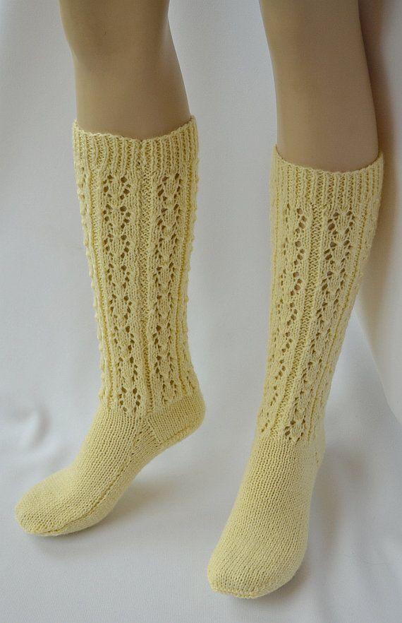 Pastel yellow socks Knit socks women warm unique gifts