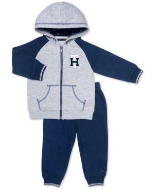 d3277761783 Tommy Hilfiger Baby Girls 2-Pc. Fleece Hoodie & Jogger Pants Set - Blue 18M