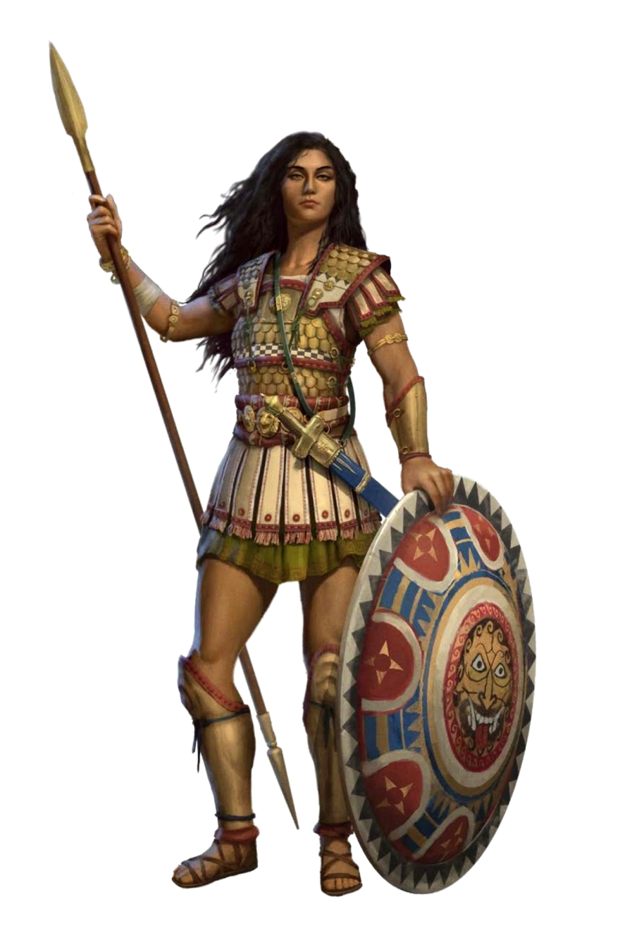 Female Human Fighter Spear and Shield - Pathfinder PFRPG DND D&D 3 5