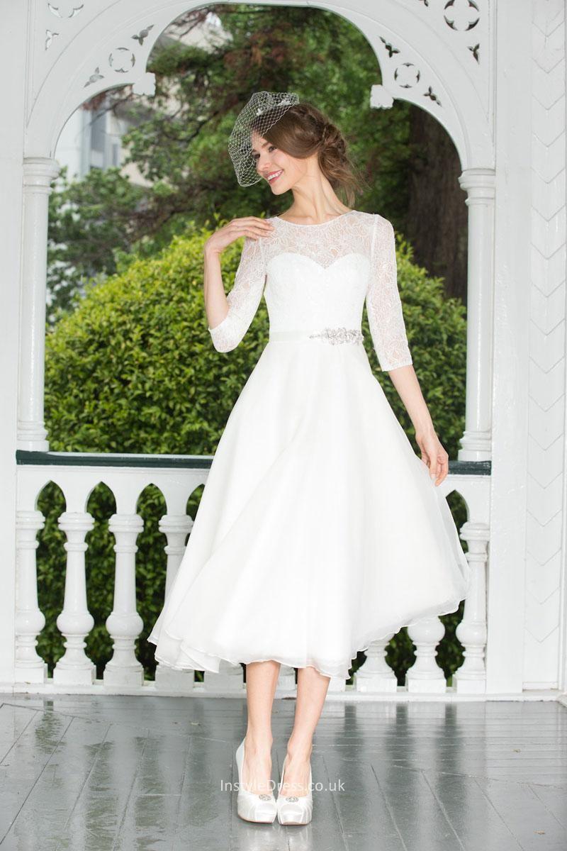 Fashion Aline Short Tea Length Chiffon Lace Wedding Dress
