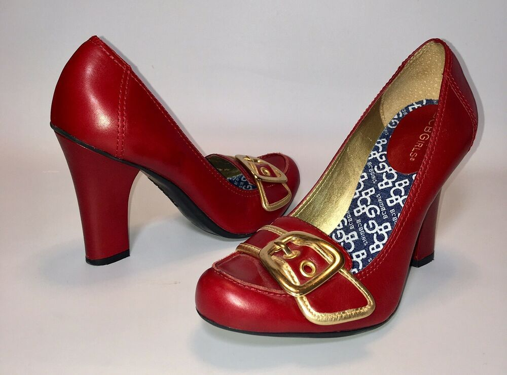 bcbgirls red leather gold buckle detail career heels shoes