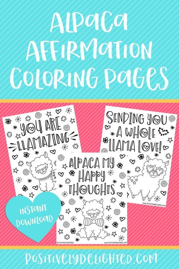 Alpaca Llama Affirmation Coloring Pages | Alpaca Birthday ...