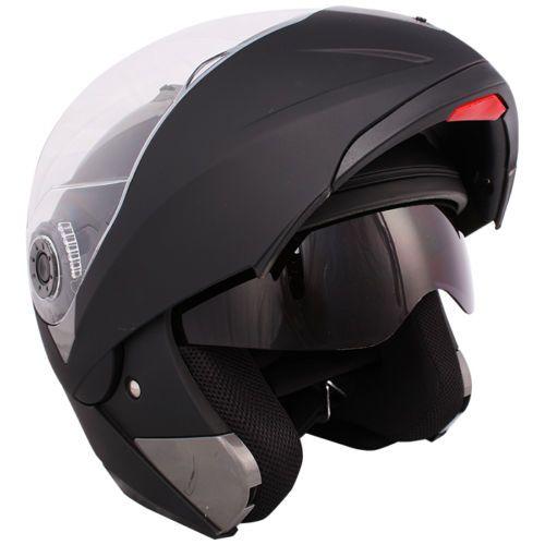 c4e8f30566386 Matte Black Modular Flip Up Dual Visor Sun Shield Motorcycle Helmet Sz s M  L XL
