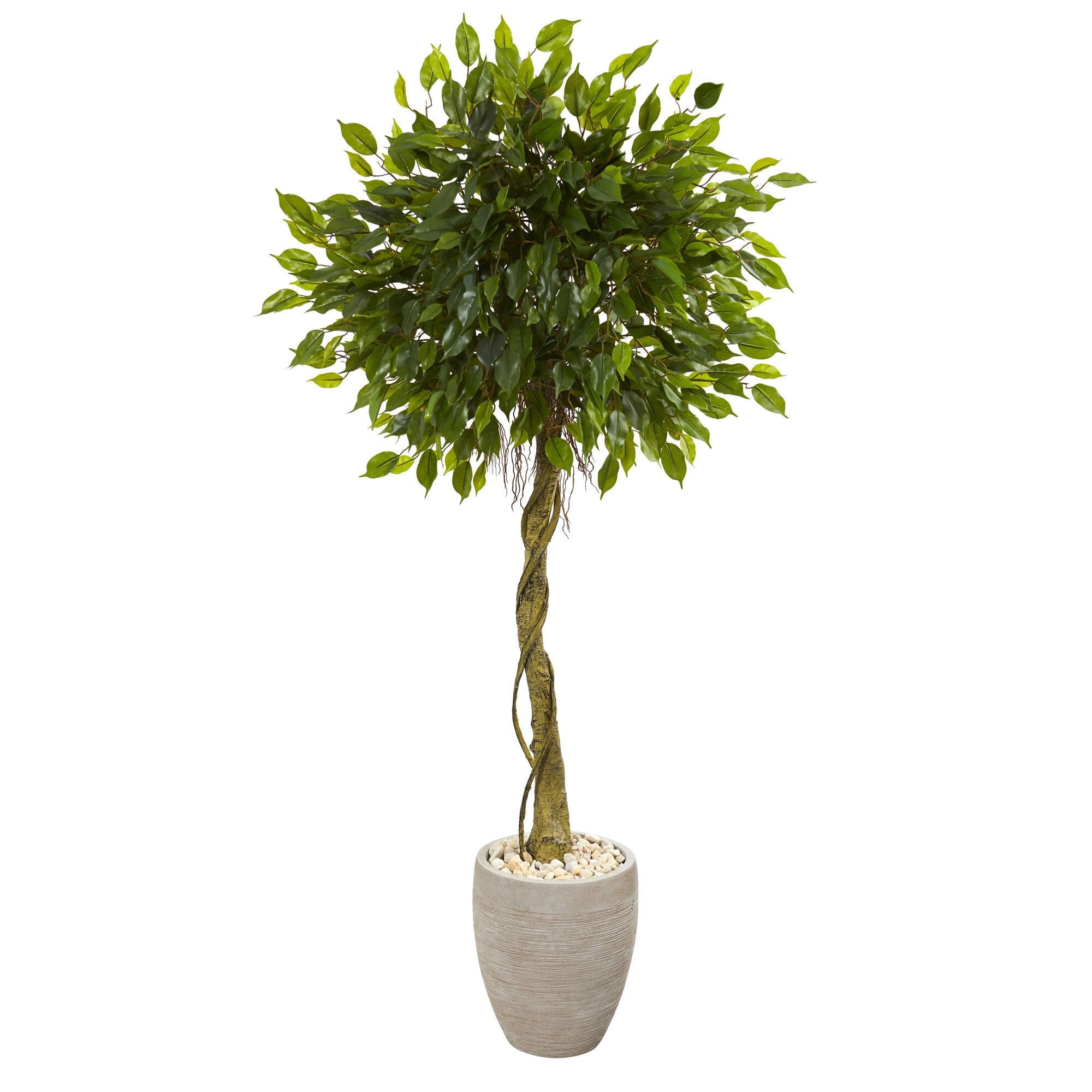 Nearly natural u ficus artificial tree in oval planter uv