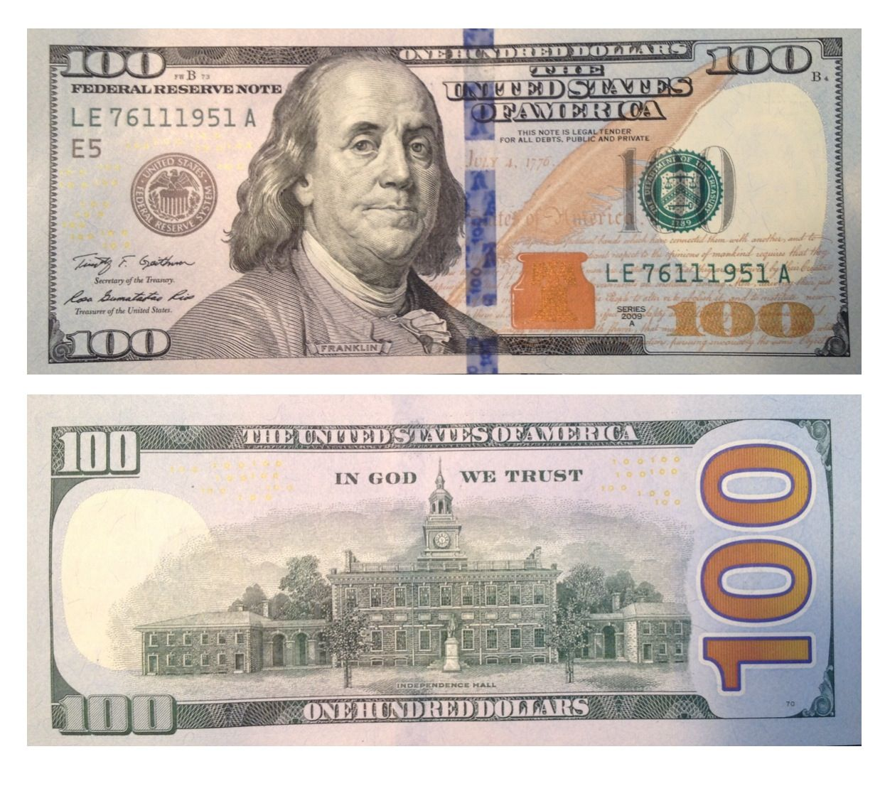 New 100 Dollar Bill Fake Proof