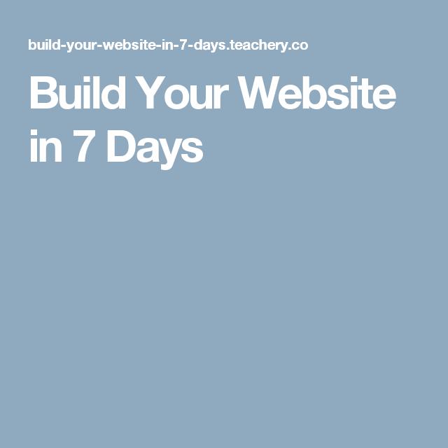 Build Your Website in 7 Days