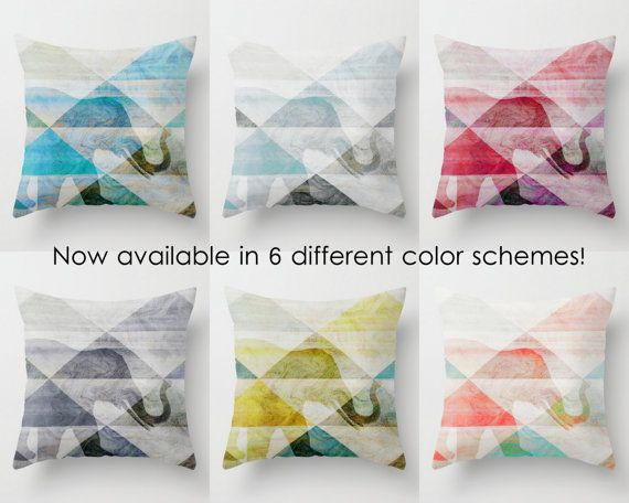 Elephant Throw Pillow Cover Abstract Geometric  by HLBhomedesigns