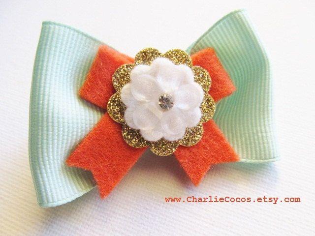 Girls/Baby Wool Felt Flower Hair Bow Clip, Mint and Coral Hair Bow, Girls Fashion Hair Bow Clip, Baby/Toddler Hair Bow Clip. $6.95, via Etsy.
