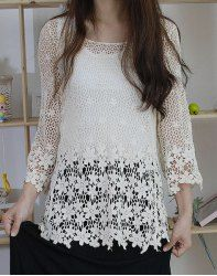 $10.54 Solid Color Ladylike Style Lace Splicing Long Sleeve Scoop Neck Slimming Blouse For Women