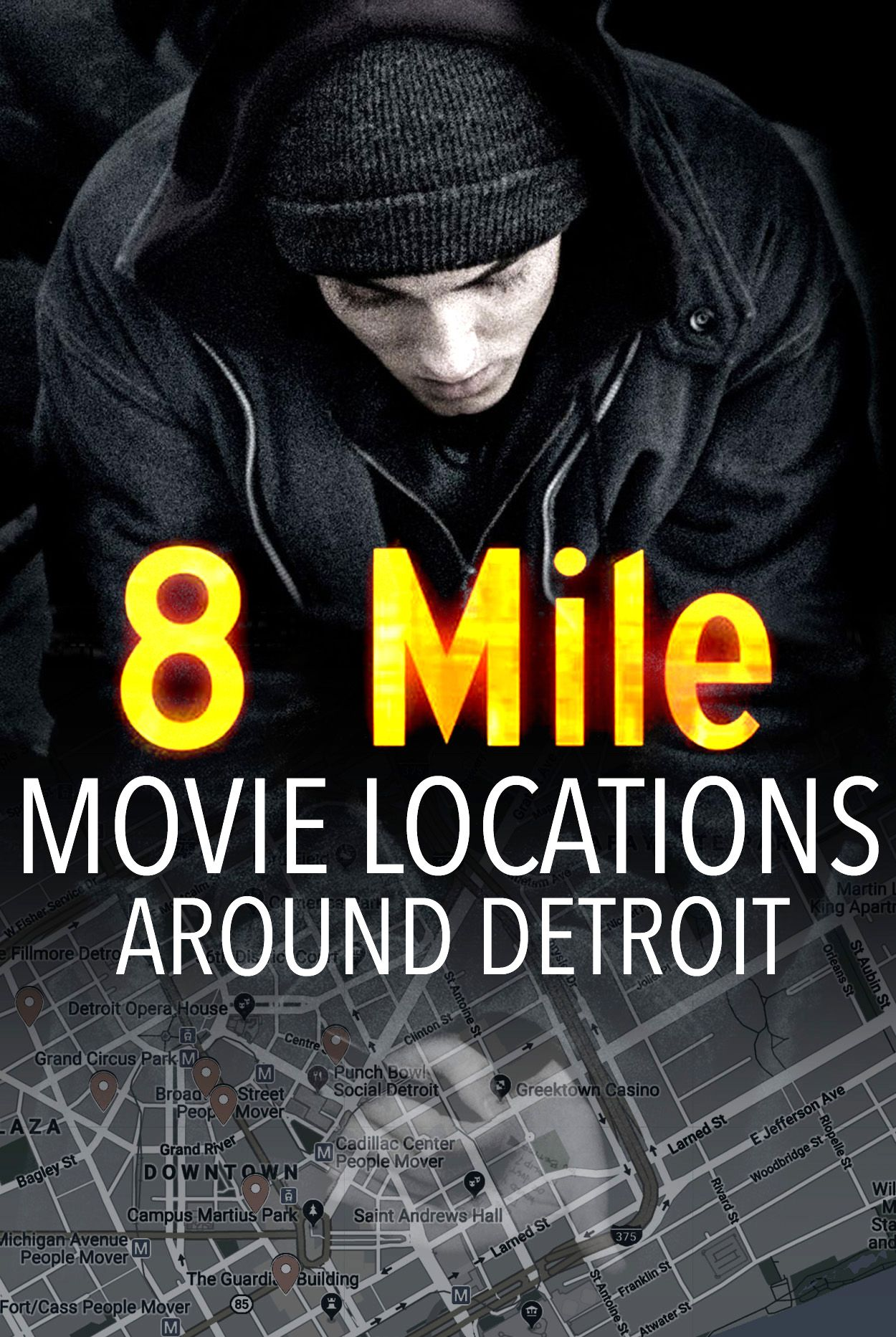 Film Locations For Curtis Hanson S 8 Mile 2002 With Eminem Around Detroit 8mile Movielocations Trailerp Filming Locations Movie Locations Miles Movie