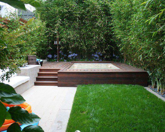 small garden design ideas bamboo jacuzzi wooden deck contemporary landscape