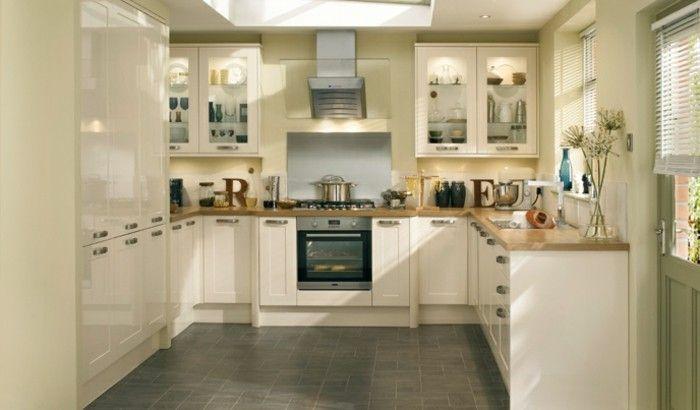 Küchenfronten Streichen ~ Küche streichen ideen creme einrichtung graue bodenfliesen