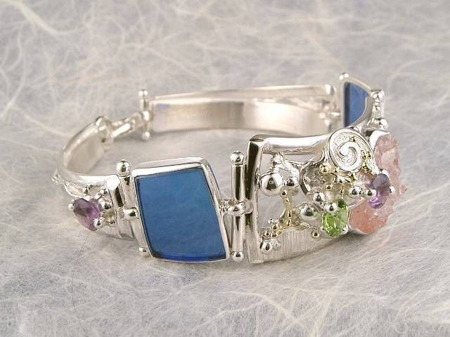 Bracelet 3982 Handmade Solid Gold Over Sterling Silver Blue Gl Drusy Amethyst Peridot