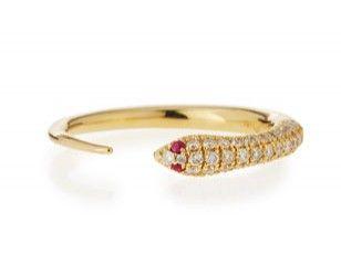 Sydney Evan - Pave diamond skinny snake ring mounted on yellow gold ~ USD 1'300