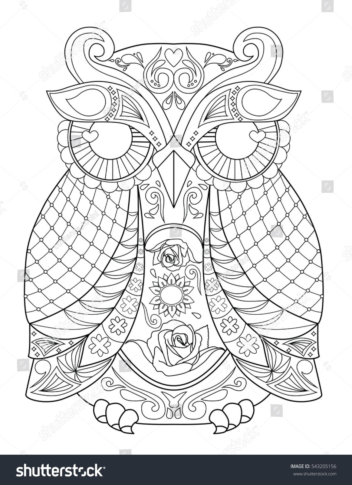 Owl Animal Mandala Coloring Page For Adult Coloring Books