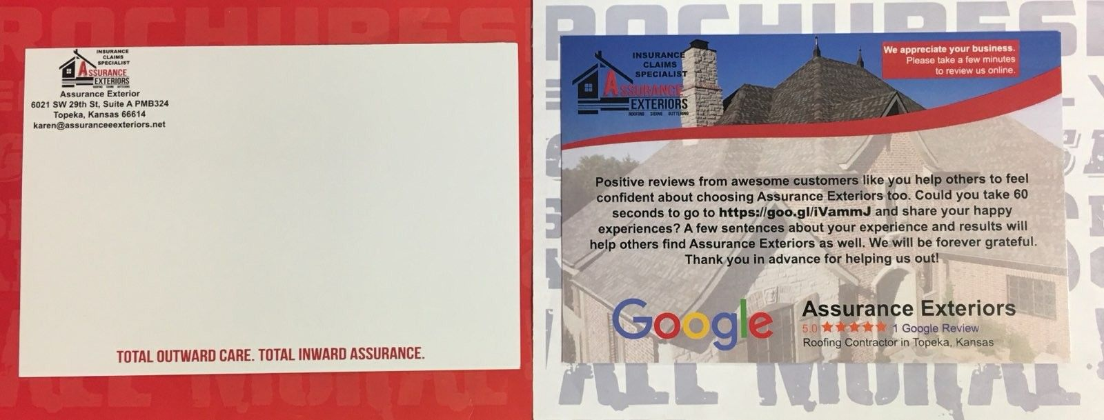 We Made These Google Review Post Cards For Assurance Exteriors Knox Signs Graphics 5612 D Sw Topeka Blvd Topeka Ks 66609 Ph 785 408 5160 Monument Signs
