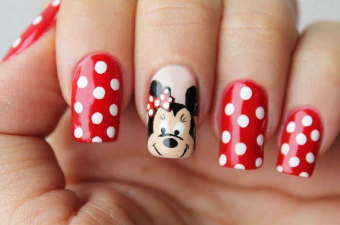 uña decorada para niña de mickey mouse   Uñas   Pinterest   Disney ...