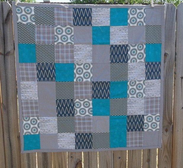 Blue Grey Baby Quilt Modern Baby Quilt Modern by TakeTwoBabyQuilts ... : blue gray quilt - Adamdwight.com