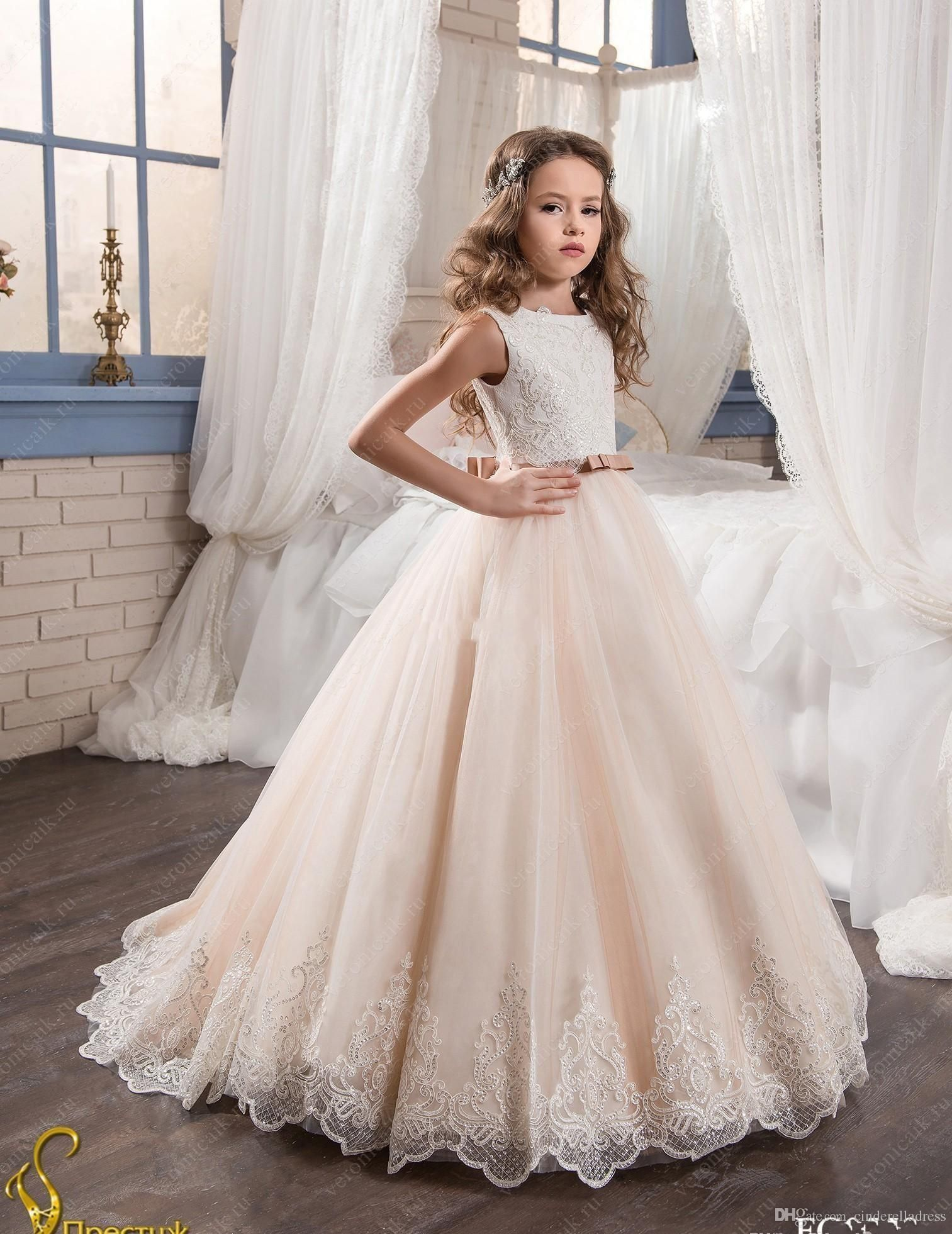 11e198f7a7625 2019 Vintage Flower Girl Dresses For Weddings Blush Pink Custom Made ...