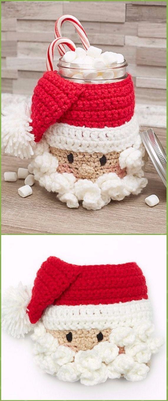 Crochet Christmas Mason Jar Cozy Free Patterns   Navidad, Tejido y ...
