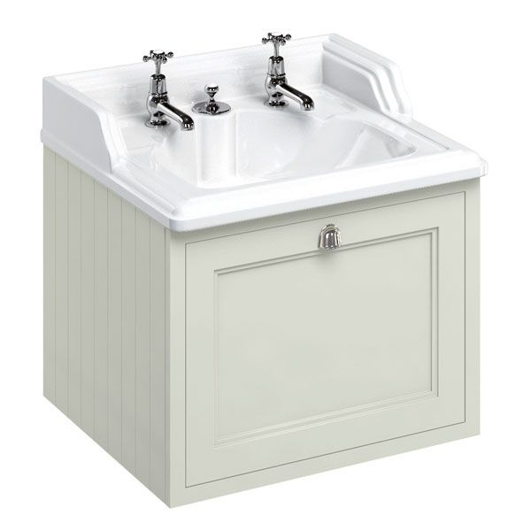 Burlington 65 Wall Hung Vanity Unit and Integrated Waste Basin 650mm Wide Sand - 1 Tap Hole