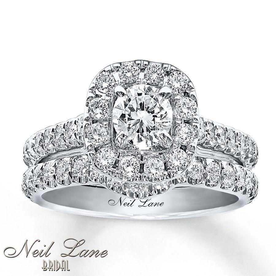 Neil lane bridal 1 38 ct tw diamond set 14k white gold