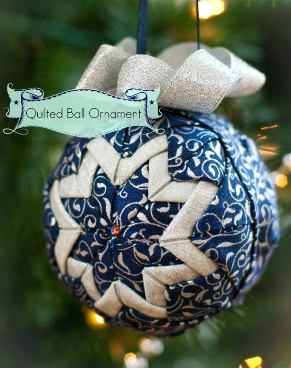 Quilted Christmas Ornaments.Diy No Sew Quilted Ball Ornament Fabric Christmas