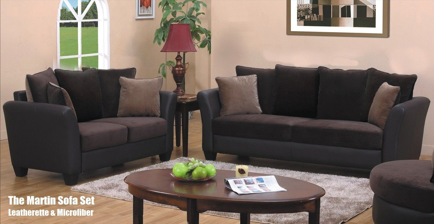 The Martin Microfiber Sofa Set in Dark Brown and Tan | For the Home ...