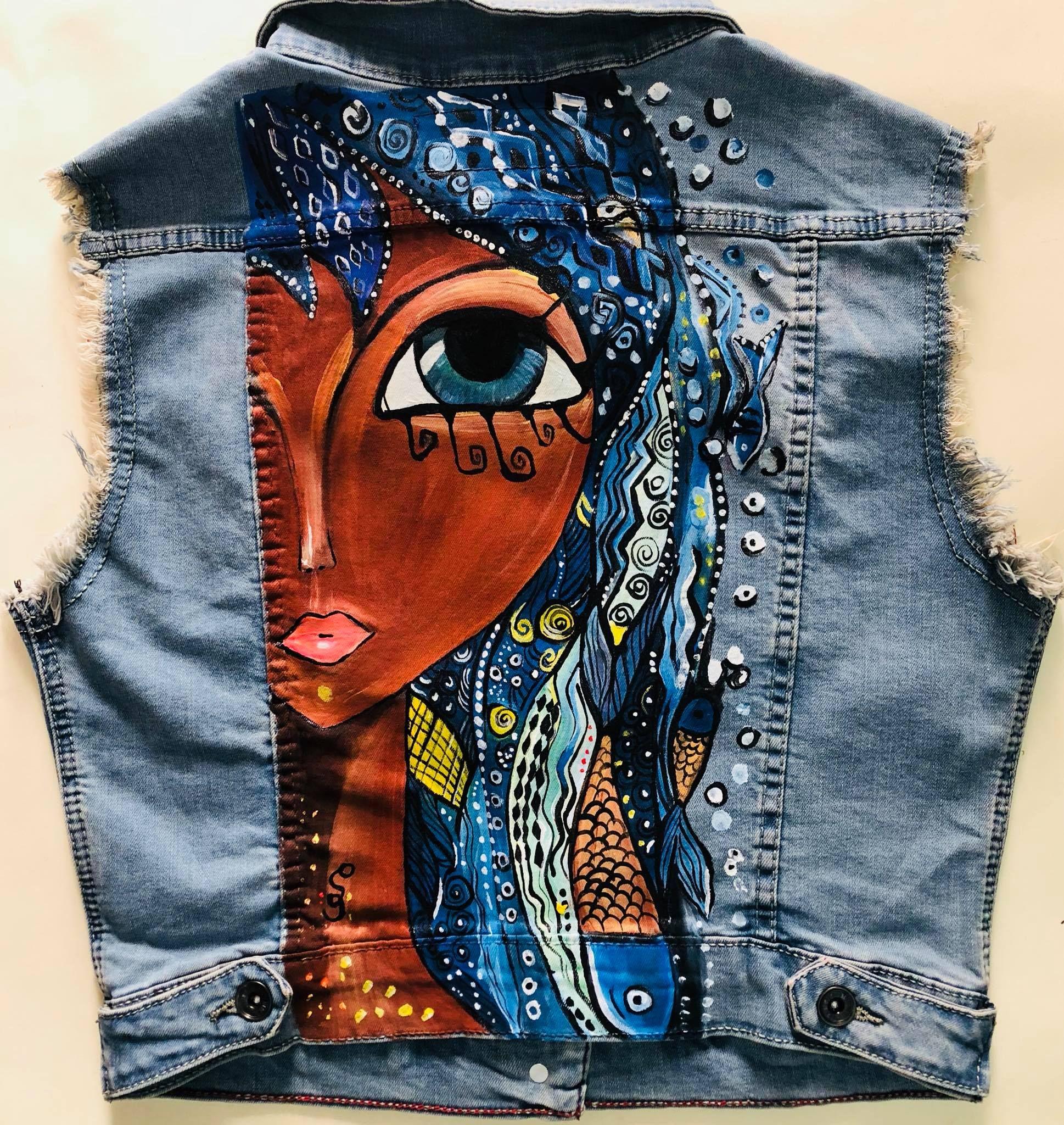 Hand Painted Jeans Vest Mai Kandeel Designs Hand Painted Denim Jacket Painted Clothes Painted Clothes Diy [ 2048 x 1938 Pixel ]
