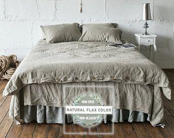 Linen Duvet Cover Queen Twin Quilt King Stonewashe Bedding Set Natural Gray