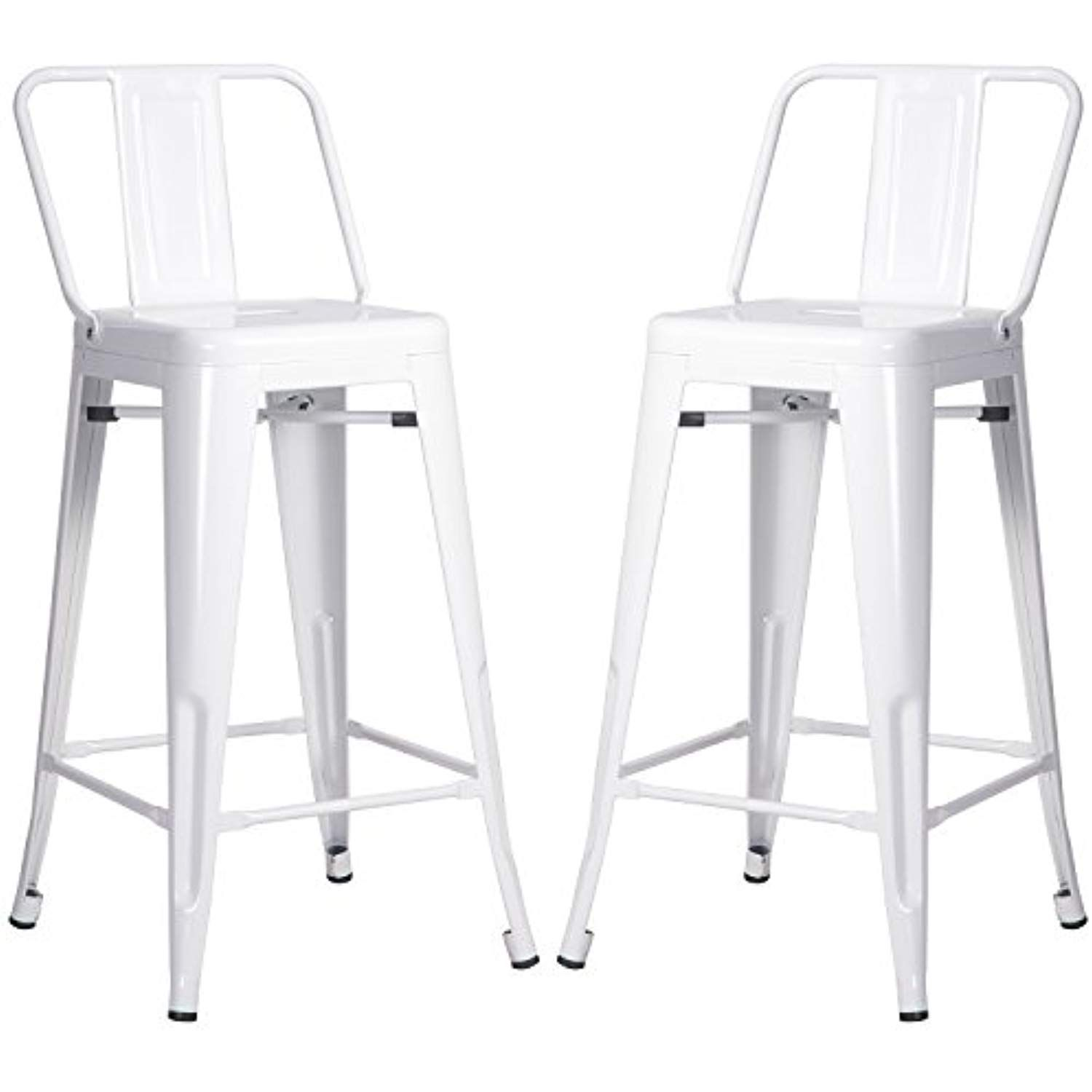 Merax Metal Bar Stools Cafe Chairs Low Back 26 Inch Set Of 2