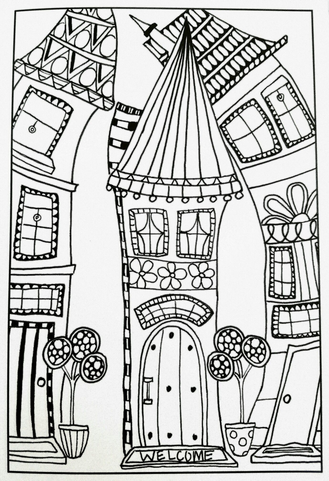 Whimsical Houses Inkspirations Adult Coloring Page Coloring