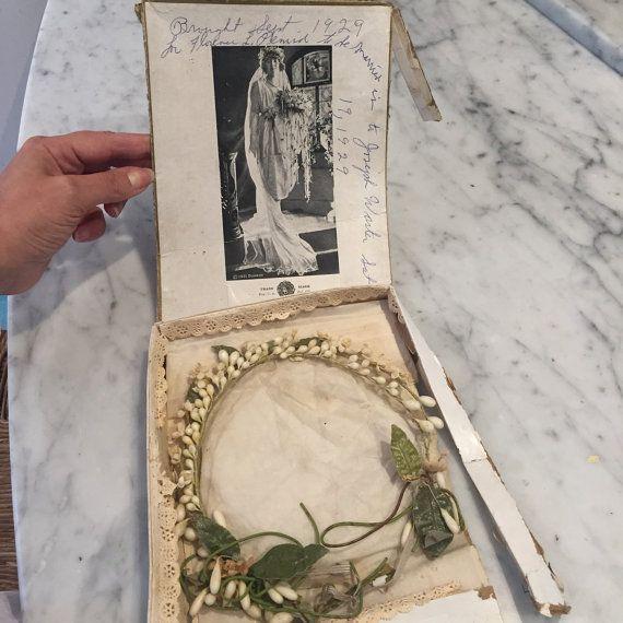 1920s Gatsby vintage wax flower bridal wreath in by vintagecaf