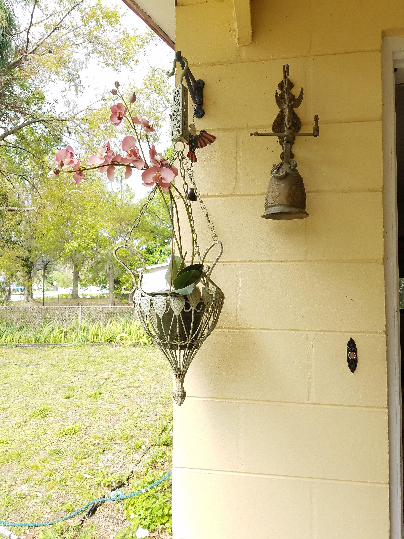 Vintage Iron Hanging Flower Plant Holder Art Nouveau, Light Green ...
