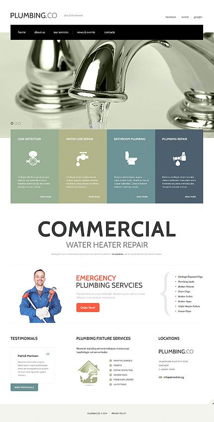 Full Plumbing Services Website Template 47769 Website Template Business Website Design Templates Plumbing